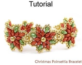 Beading Tutorial Pattern - Beaded Holiday SuperDuo Poinsettia Bracelet - Simple Bead Patterns - Christmas Poinsettia Bracelet #23923