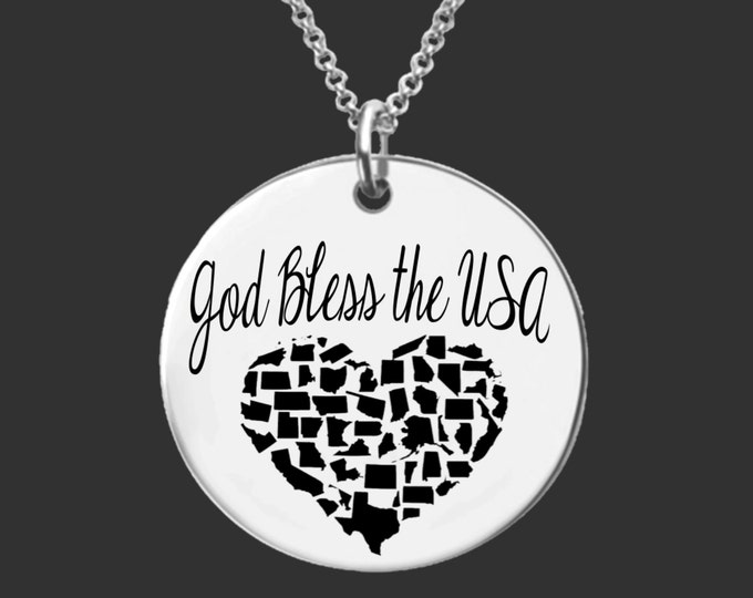 USA Jewelry | God Bless the USA | State Necklace | Bridesmaid Gifts | Friend Gift | Daughter Gift | Personalized Gifts | Korena Loves