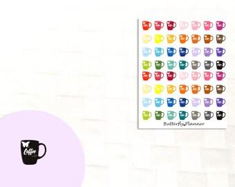Coffee Stickers, 56 Planner Stickers, Calendar Reminder, Coffee Mug