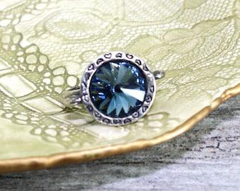 Swarovski Denim Blue Adjustable Statement Ring