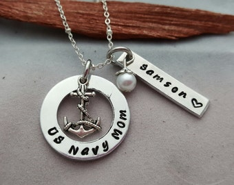 Navy mom necklace anchor necklace hand stamped US Navy necklace Navy mom gift for Navy mom military jewelry Navy jewelry name jewelry