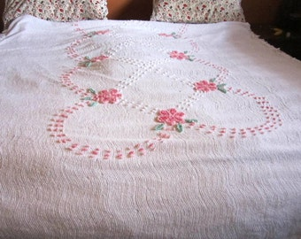 White Chenille Bedspread  Lovely Pink Flowers  All Cotton Soft Lightweight Cutter or use as a bedspread