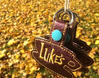 Luke's diner faux leather keychain