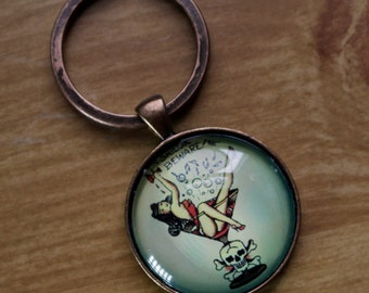 Antiqued Copper Pinup Keychain