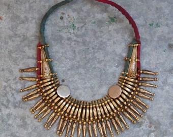 Tharu necklace Nepalese vintage tribal village bib necklace warrior spike ethnic bohemian, rocker handmade brass copper boho rare Nomad
