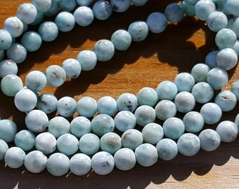"1 16"" Beautiful Genuine Natural Larimar 5-5.5mm Smooth Rounds Beads (67 beads)"