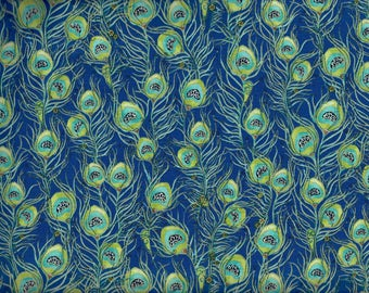 FREE SHIPPING - Pretty as a Peacock fabric - Feathers - cobalt blue teal green metallic gold - Quilting Treasures - by the continuous YARD