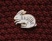 Sensitive rabbit enamel pin