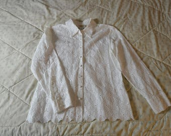Beautiful White Eyelet Blouse by Talbots in Size 8 Petites