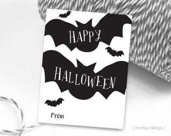 Halloween Tags Fill In Halloween Favor Tags Bats Tags Digital Tags Instant Download Halloween Printable Tags Kids Halloween Tags Black Bats