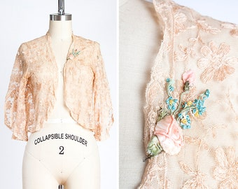 Darling 1930s Dusty Peach Tambour Lace Bolero with Silk Ribbon Flowers // Jacket // Boudoir // Ethereal // Romantic