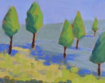 "Modern landscape painting, Original oil landscape painting, mountain landscape, trees painting, Square canvas, impressionist, 10"" X 10"""