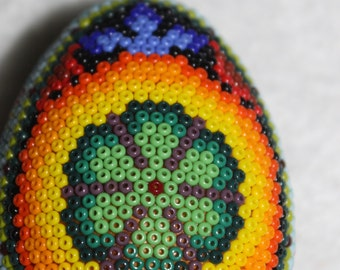 Huichol  Peyote Beaded Egg Ornament 7