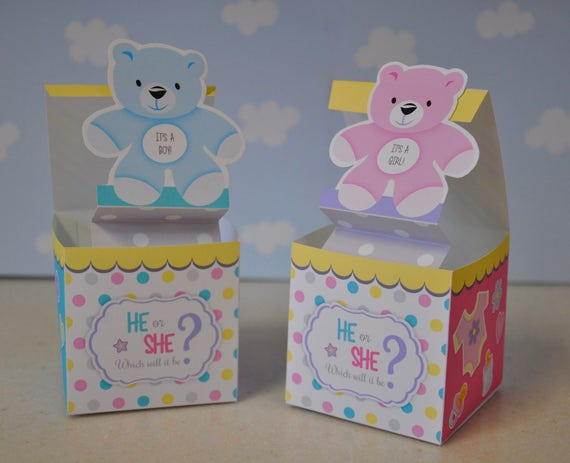 Gender Reveal Baby Shower Pop Up Favor Box He Or She Jack In The Box