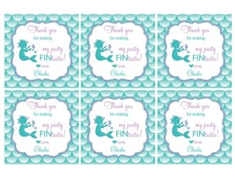 Baby Mermaid Party FAVOR TAGS Customize Name