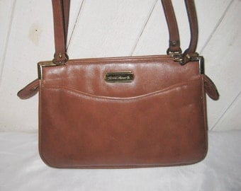 Brown leather shoulder bag, vintage Etienne Aigner purse, leather compartment purse, roomy handbag, 70s 80s bag purse, 1373