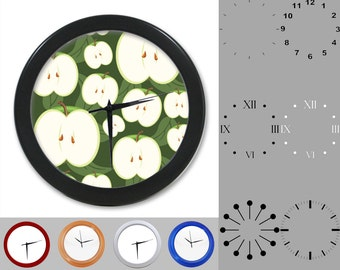 Green Apple Wall Clock, Abstract Fruity Design, Artistic Graphic, Customizable Clock, Round Wall Clock, Your Choice Clock Face or Clock Dial