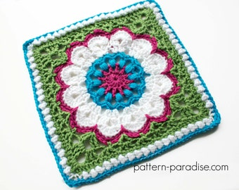 Crochet Pattern Afghan Square Dahlia  PDF 16-234