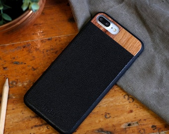 Leather iPhone 7 plus Case, iPhone 7 plus Leather Case, Wood/Leather iPhone 7 plus Case - LTR-BL-I7P