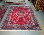 Reserved for David - 1970s Hand-Knotted, Mosque Ardebil Designed Mashad Rug (3565)