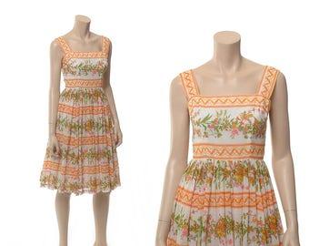Vintage 70s Lanz Floral Garden Party Dress 1970s Flowers Swing Skirt Sundress Sleeveless Rockabilly Pin Up Summer Day Dress / X-Small