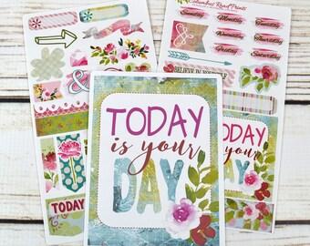 TN01 TRAVELER'S NOTEBOOK, sticker kit, 2 sheet Romantic travelers Notebook kit, floral, decorative stickers for fauxdori
