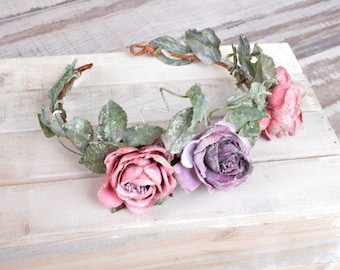 Fairy Crown, Forest nymph crown, Woodland hair wreath, Pink green sparkling halo, Magical headpiece, Pink purple rose crown, Forest queen