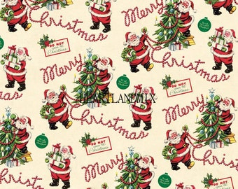 Vintage Retro Holiday Merry Christmas Wrapping Paper Digital Image Download Printable 300 DPI