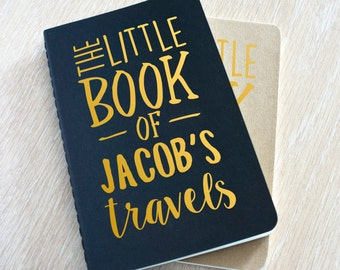 Personalised Travel Journal Planner - The Little Book Of Travels, Plain Black & Copper A6 personalised moleskine pocket notebook journal