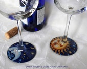 RESERVED - Celestial Bodies (#6 & #8) - Set of 4 Stylized Wineglasses