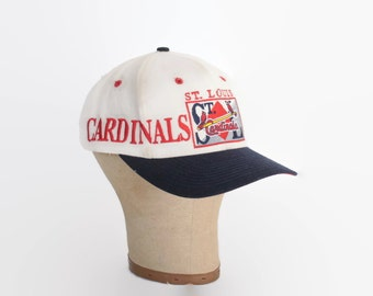 Vintage 80s St Louis CARDINALS Hat / 1980s Rare Heavily Embroidered Logo Cotton Trucker Baseball Cap