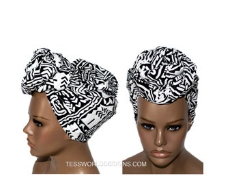 Black and white headwrap / Fabric from Africa/ Scarves/ Gift Ideas / African Head wraps/African hair accessory/ African Head scarf/ HT149