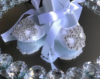 Christening Baby Girl Shoes Baptism Booties White baby Girl shoes Rhinestone Baby girl booties Birthday Shoes Toddler Satin Shoes Crib shoes