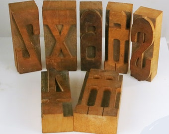 Wood Letters / Numbers - Decorative Printmaker Blocks 4 6 M H X Z Dollar sign - Block Printing Stamps Number 4, 6/9, Letters M H X Z Dollar