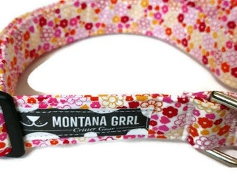 Hearts and Flowers Pet Collar, flower cat collar, flower dog collar, girl dog collar, girl cat collar, flower collar, puppy collar