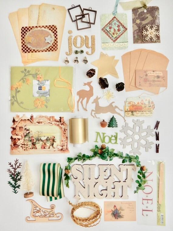 Woodland Christmas Craft kit- Noel tags Silent Night embellishments mini photo album