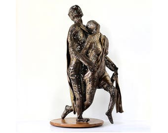Metal sculpture, Abstract Lovers Dancing Sculpture Decorative, Classical Ballet Dancing Couple Figurine, Handmade metal art