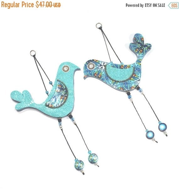SPRING SALE Wedding gift, wall decor love birds, Handmade love birds, Polymer clay birds, Bird couple with Blue, Turquoise, Green and White,