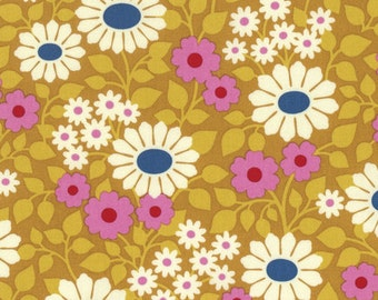 Yellow Floral Fabric Fields Forever Gold Heather Bailey Free Spirit Fabric Hello, LOVE Gold Floral Cream Pink Floral Retro-Inspired Floral
