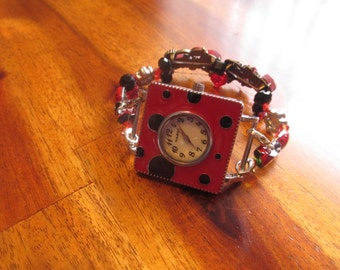 Ladybug Watch, Red Beaded Watch