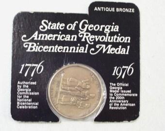 Vintage 1976 State Of Georgia American Revolution Bronze Bicentennial Medal 1776-1976