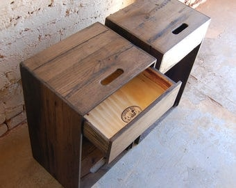 Ebony Pair of Wooden Crates/ Nightstands/ Side Tables/ Drawers/ Storage