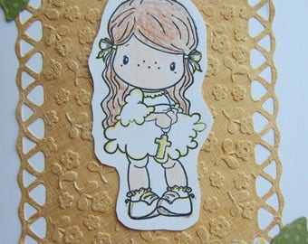 First Communion Card, Holy Eucharist Card, First Holy Communion Card for Girl, Handmade Card