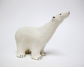 Polar Bear Sculpture, Hand Made Polar Bear, Ceramic Polar Bear, Artic Animal,Art and Collectibles,Polar Bear