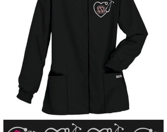 Stethoscope (Medical Professional/MD/RN/PA) Embroidered/Monogram Scrub Jacket - Warm Up