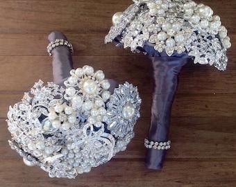 Brooch Bridesmaid Bouquets | Petite Bridal Bouquet | Vow Renewal Bouquets | Brooch Bouquet | Broach Bouquet