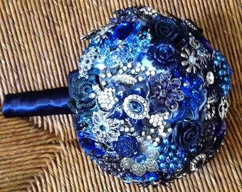 DEPOSIT | Brooch Bouquet | Custom Made Bridal Bouquet | Blue Jeweled Bouquet
