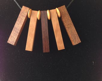 Necklace. Mixed species highly figured timbers