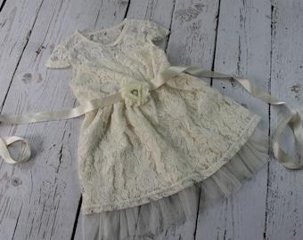 Ivory Flower Girl Dress Rustic Flower Girl Dress Ivory Jr Bridesmaid Dress Ivory Country Flower Girl Dress Ivory Lace Flower Girl Dress