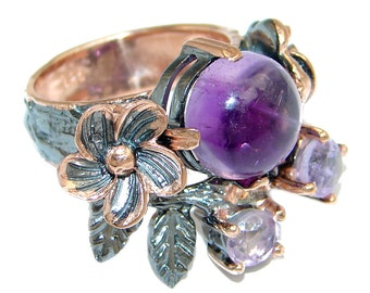 Amethyst Sterling Silver Ring - weight 10.20g - Size 7 - dim L - 3 4, W - 1, T - 1 4 inch - code 11-sty-17-12